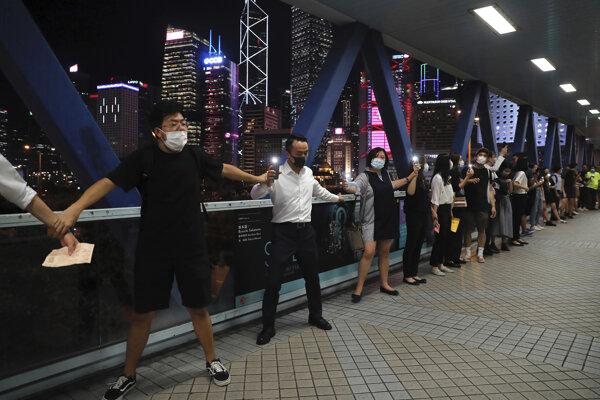 Demonštranti v Hongkongu vytvorili 45-kilometrovú ľudskú reťaz