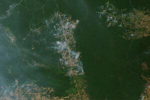 Požiare v blízkosti Novo Progresso v brazílskom štáte Pará. Záber urobil satelit Terra dňa 19. augusta 2019.