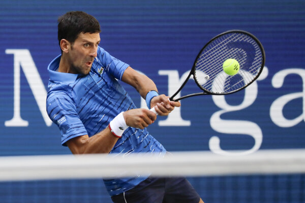 Novak Djokovič počas 1. kola US Open 2019.
