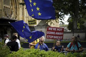 Pred parlamentom sa stále konajú protesty proti brexitu.