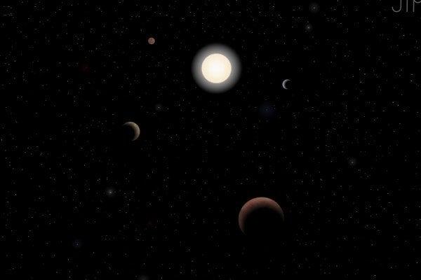 Päť planét okolo hviezdy Tau Ceti.
