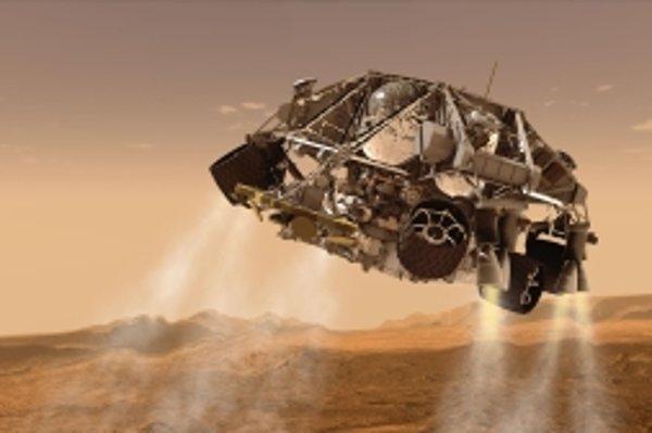 Pristávanie vozidla Curiosity na Marse.