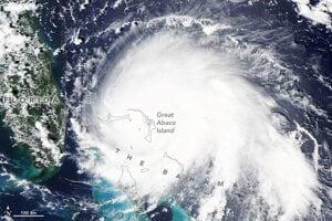 Hurikán Dorian nad Bahamami.