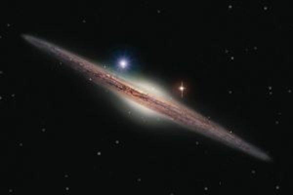 """Umelecká vízia röntgenového zdroja HLX-1 (modrastý jasne žiariaci objekt vľavo nad stredovou výduťou galaxie), pravdepodobne """"midi"""" čiernej diery z dlho hľadanej tretej kategórie na hmotnostnej úrovni stoviek hmotností nášho Slnka."""