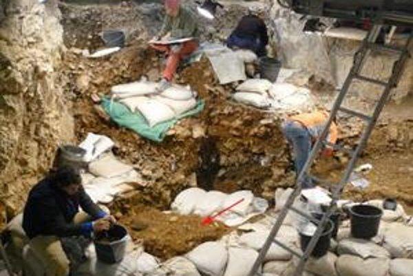 Tím pri vykopávkach v jaskyni Hohle Fels. Miesto, kde ležali úlomky supej flauty, označuje červená šípka.