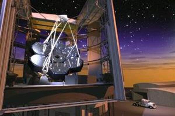 Umelecká predstava podoby obrovského Magellanovho ďalekohľadu s priemerom segmentovaného zrkadlového objektívu 24,5-metra a výškou budovy 60-metrov. Stane sa súčasťou Observatória Las Campanas v Andách nad púšťou Atacama v Čile. Na fotografií vidno cez ot