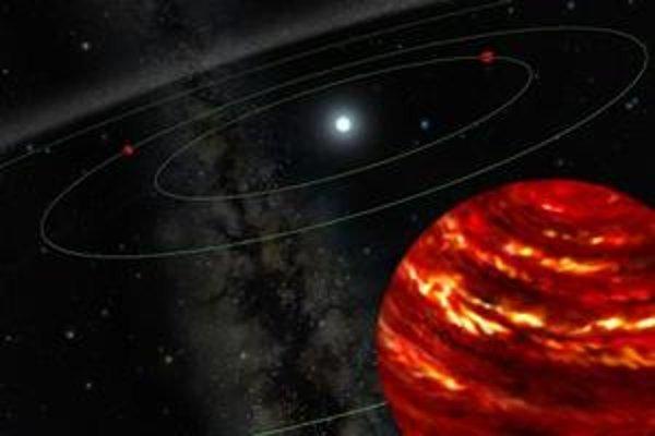 Takto planetárnu sústavu HR 8799 vidí maliarka, akoby od jednej z obrích planét.