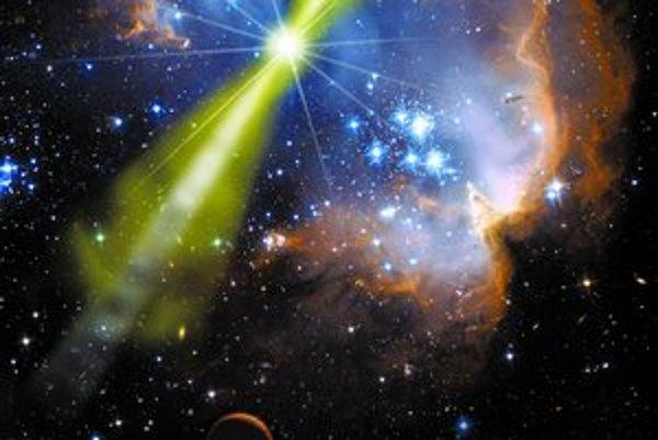 Umelecká rekonštrukcia gama záblesku GRB 080319B.