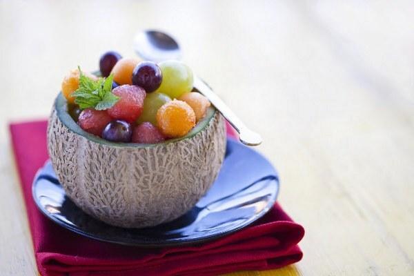 melónový šalát s hroznom