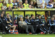 Pep Guardiola na lavičke Manchester City.
