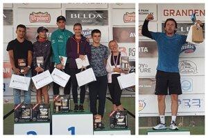Vľavo najlepší muži a ženy na 10 km. Vpravo Henrich Benčík, ktorý vyhral kategóriu 40-49-ročných.