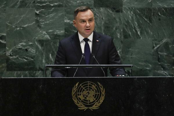 Poľský prezident Andrzej Duda v priebehu prejavu v sídle OSN.