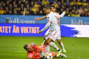 Momentka zo zápasu Švédsko - Španielsko.