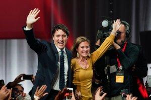 Líder Liberálnej strany Kanady Justin Trudeau a jeho manželka Sophie Gregoire Trudeauová.