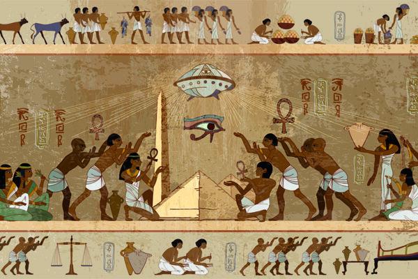 Karikatúra hieroglyfov. Na ulici stále stretneme minimálne jedného človeka, ktorý je presvedčený, že pyramídy postavili mimozemšťania, píše Veronika Dubcová zo SAV.