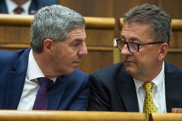 Béla Bugár a Martin Glváč v parlamente.