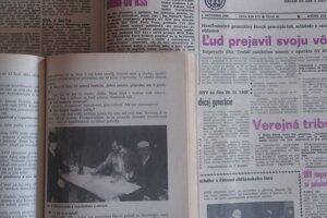 Výtlačok týždenníka Kysuce z 1. decembra 1989 a Kysucký kalendár