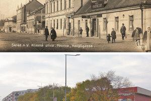 Totálne vygumovanie histórie pri pohľade na rovnaké miesto v Seredi kedysi a dnes.