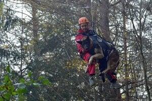 Záchranár a pes musia byť nacvičení aj na takéto prekonávanie terénu.