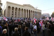 Protest v Gruzínsku.