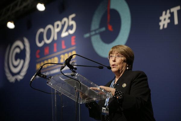 Michelle Bacheletová počas globálneho klimatického summitu v Madride 2019.