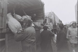 Vykladanie humanitárnej pomoci v Temešvári.
