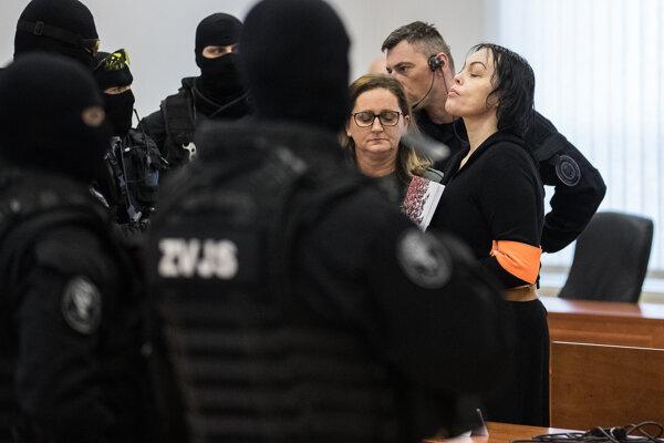 Príchod Aleny Zsuzsovej na súd.
