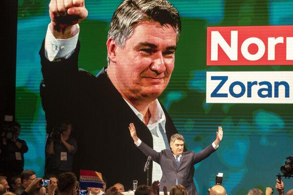 Zoran Milanovič sa teší z víťazstva v prvom kole prezidentských volieb.