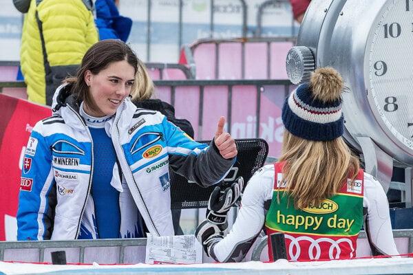 2. 2. 2019. Maribor, Slovinsko.  Petra Vlhová a Mikaela Shiffrinová po druhom kole slalomu žien v Maribore.
