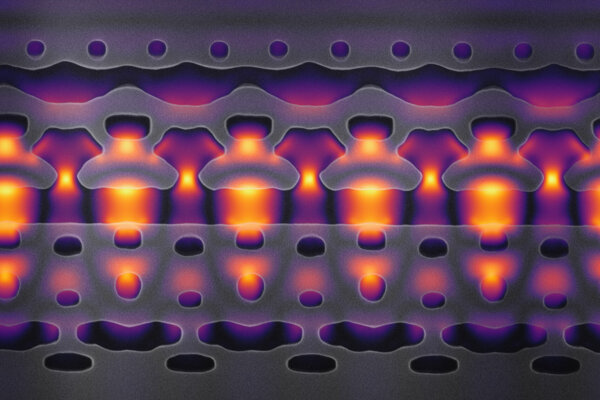 Záber zväčšený 25-tisíckrát ukazuje výsek z prototypu urýchľovača v čipe, ktorý vytvorili výskumníci zo Stanfordovej univerzity.