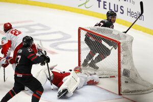 Momentka z finále Kanada - Rusko na MS v hokeji do 20 rokov 2020.