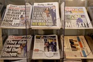 Titulné stránky britských novín vo štvrtok zaplnili správy o Harrym a Meghan.