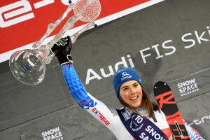 Petra Vlhová s trofejou za víťazstvo v slalome vo Flachau 2020.