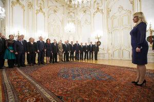 Prezidentka SR Zuzana Čaputová počas novoročného prijatia členov Slovenskej rektorskej konferencie a predstaviteľov Slovenskej akadémie vied (SAV) v Prezidentskom paláci.