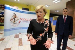 Ministerka kultúry SR Ľubica Laššáková počas tlačovej konferencie na tému Pocta folklóru v srdci Slovenska.