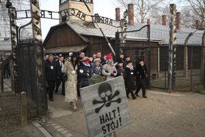 Spomienka v areáli oncentračného tábora Auschwitz-Birkenau.