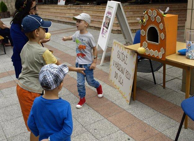 Na podujatí Medové leto skúšali deti trafiť peľové zrnká do papierového úľa.