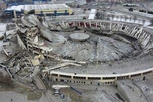 Štadión v Petrohrade po neplánovanom zrútení.