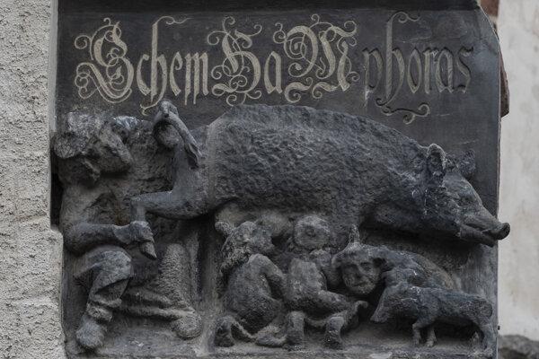Reliéf zobrazuje rabína, ktorý nadvihuje chvost ošípanej a pozerá sa na jej zadok, zatiaľ čo ďalší židia z bradaviek zvieraťa sajú mlieko.