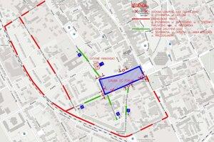 Dočasné obchádzkové trasy pri stavbe obchodného centra Forum.