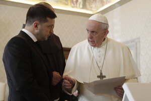Ukrajinský prezident Volodymyr Zelenskyj na audiencii u pápeža Františka vo Vatikáne.
