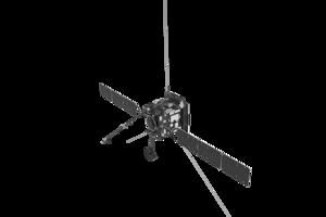 Vizualizácia sondy Solar Orbiter s vysunutými anténami pri Slnku.