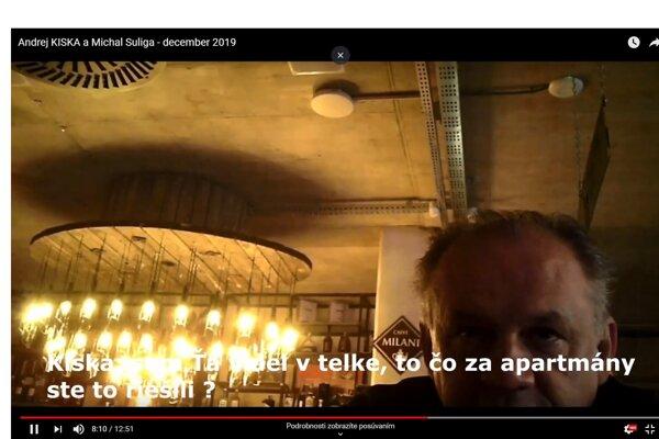Andrej Kiska na videu, ktoré zverejnil anonym.
