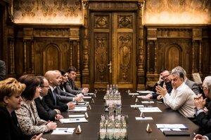 Orbánna rokovani s predstaviteľmi Strany maďarskej komunity (MKP) v Budapešti 11. apríla 2017.