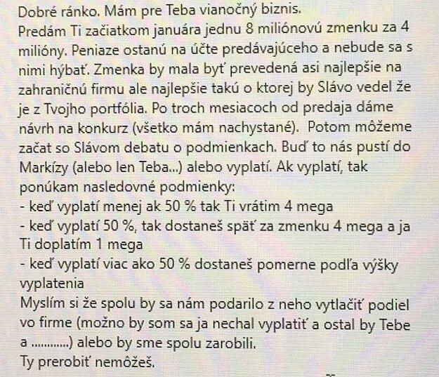 Správa od Mariana Kočnera Norbertovi Bödörovi.
