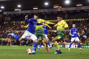 Momentka zo zápasu Norwich - Leicester.