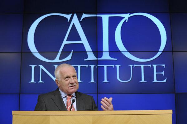 Václav Klaus počas prednášky v CATO institute v roku 2013.
