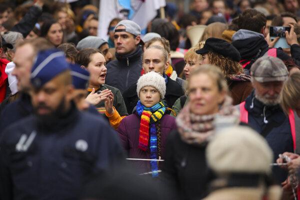 Greta na pochode v Bruseli.