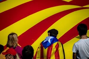 Demonštrácia za nezávislosť Katalánska vo francúzskom meste Perpignan 29. februára 2020.