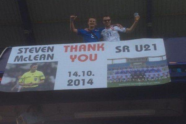 Hlohovčania upozornili transparentom na zápas zo 14. októbra 2014.